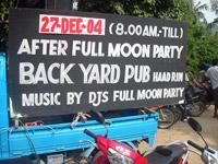 Koh Phangan Full Moon Party Dec 2004 Backyard