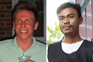 Killed: Stephen Ashton (left) is said to have been shot by a stray bullet. Ekkapan Kaewkla (right) was jailed over his death