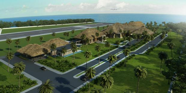 A rendering of the proposed airport on Koh Phangan island, home of the infamous full-moon party. Numerous issues have delayed the airport's opening. Photo Credit @ BangkokPost.com