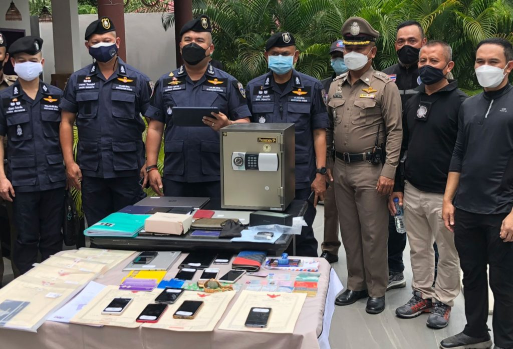 Police display items seized from a German drug suspect on Koh Phangan in Surat Thani on Tuesday.