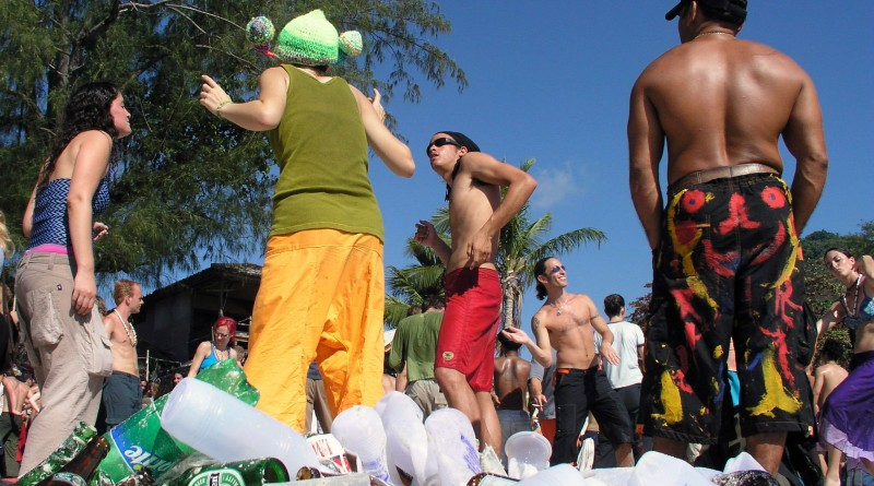 Rubbish: This is the aftermath of a full moon party in Thailand