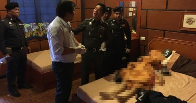Kunthika Churuek, 24, who was the man's girlfriend, had fatal knife wounds to her throat and chest. A blood-stained knife was found in the room. Photo Credit @ www.thairath.co.th