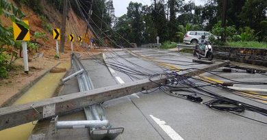 Electricity poles brought down by fallen rocks block a road on Koh Phangan in Surat Thani on Monday. (Photo Credit @ Bangkokpost.com by Supapong Chaolan)