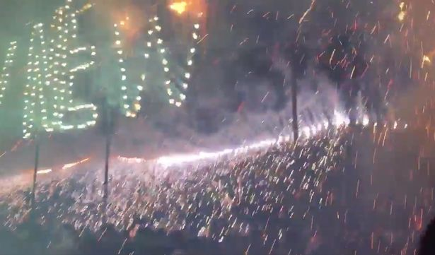 The sparks rained down into the crowd of revellers, burning them all over their bodies at Koh Phangan NYE Party 2017